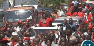 UPND Leader Hakainde Hichilema after being released