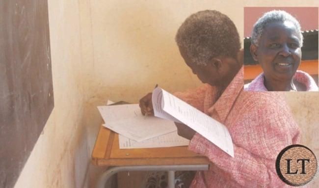 MRS Mulomba Mutakwa sitting for her History examination paper.