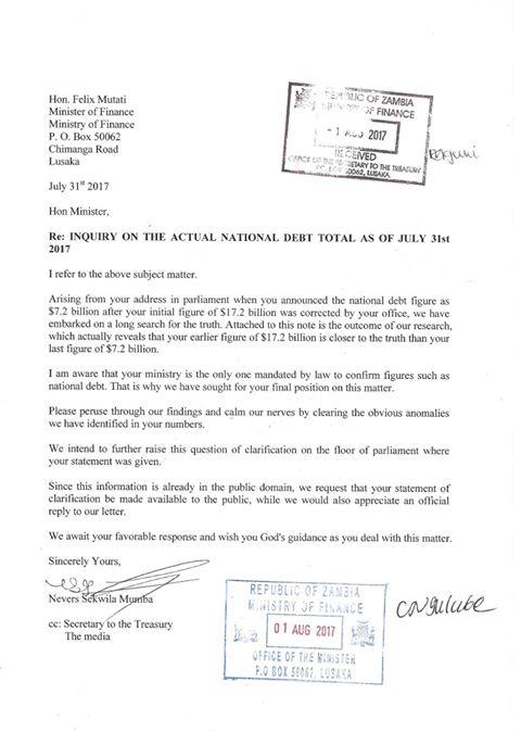 Nevers Mumba's Letter to Finance Minister Mutati