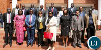 President Edgar Lungu with IFAD President Mr Gilbert Houngbo and Ms Janet Rogan UN Resident Coordinator and the Delegation pose at State house