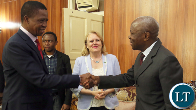 President Edgar Lungu with IFAD President Mr Gilbert Houngbo and Ms Janet Rogan UN Resident Coordinator at State house