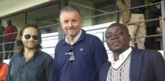 Roberto Landi ( in the middle) and Macca with City Media Officer Alex Njovu at Woodlands Vodafone Stadium on Wednesday in Lusaka.