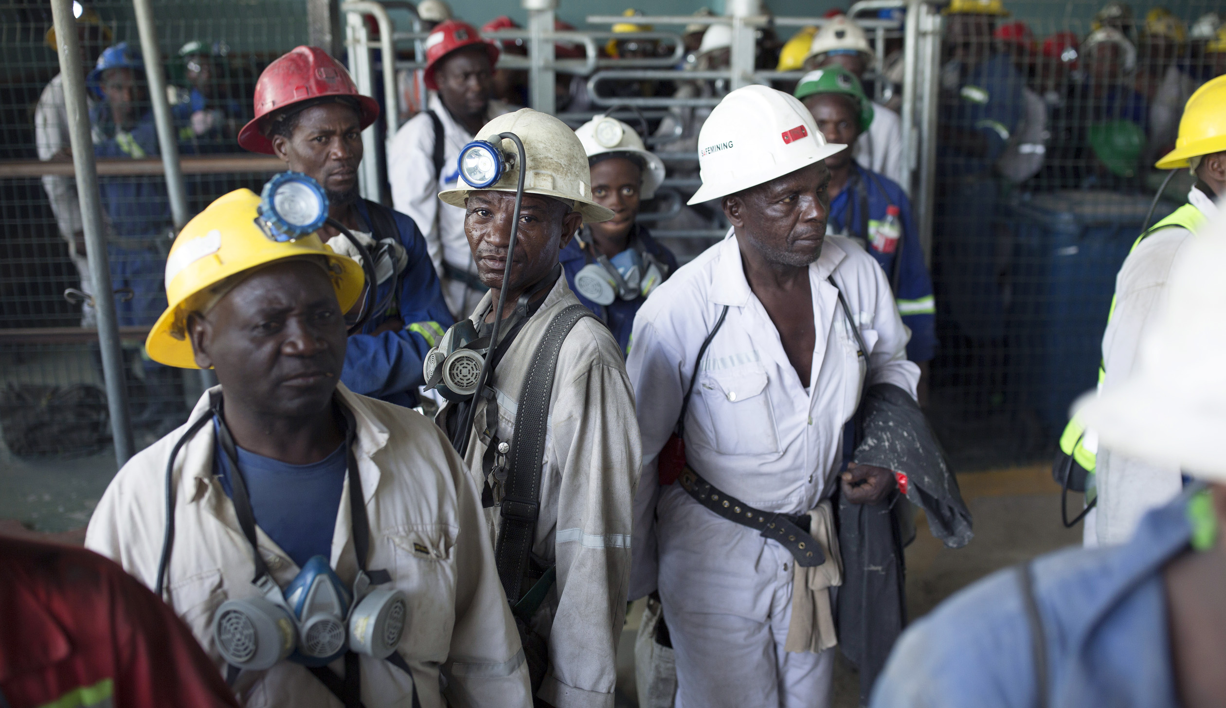 Mine workers in one of the Zambian Mines on the Copper belt
