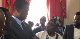 President Edgar Lungu with former Nigerian President Olusegun Obasanjo at State House