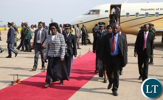 Vice President Inonge Wina at Kenneth Kaunda International Airport shortly after seen off President Edgar Lungu departure