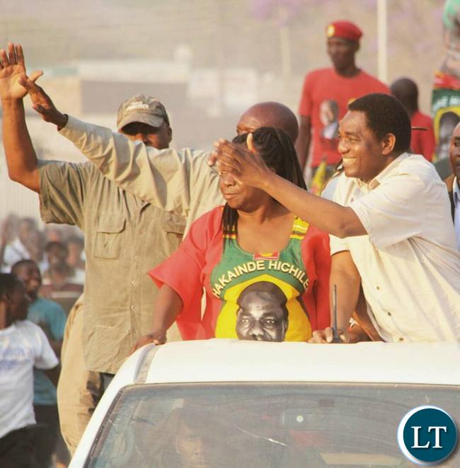 HH and Mutale Nalumango arriving at the rally