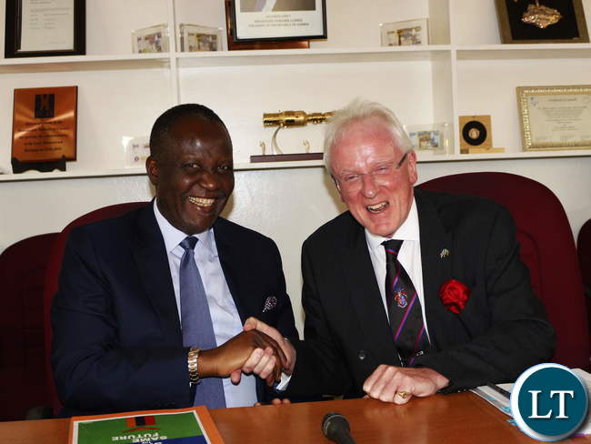 Finance Minister Felix Mutati and London Mayor Andrew Parmley
