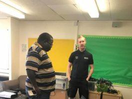 Mr Kambwili inspecting some of the donated school iitems