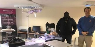 Mr Kambwili posing with some of the donated hospital equipment