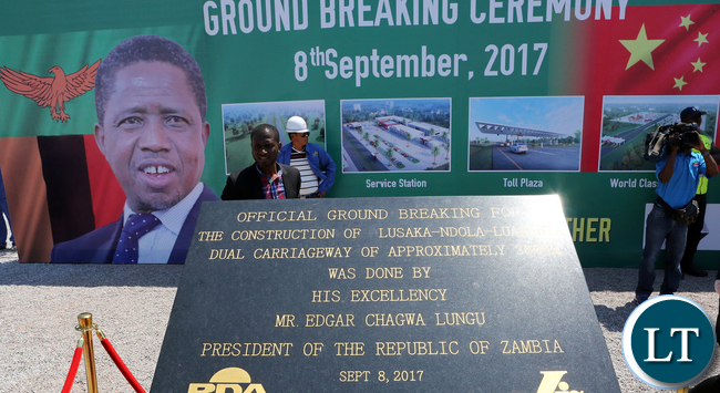 President Edgar Chagwa Lungu during the at the Ground Breaking ceremony of Lusaka -Ndola Dual Carriageway in Lusaka on Friday