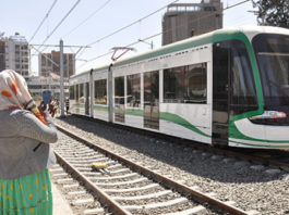 The newly built trains for the Addis Abeba Light Rail Transit (LRT) constructed by China. A similar project is now planned for Lusaka City