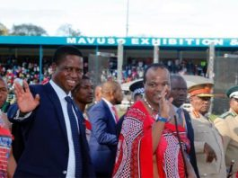 resident Edgar Chagwa Lungu (left) with King Mswati III waves to the crowd after official opening of the 49th Swaziland International Trade Fair (SITF) at Mavuso Exhibition and Trade Centre in Manzini,Swaziland on Saturday,September 2,2017. PICTURE BY SALIM HENRY/STATE HOUSE ©2017