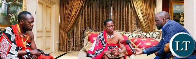 President Lungu being interviewed while Kaizer Zulu listens