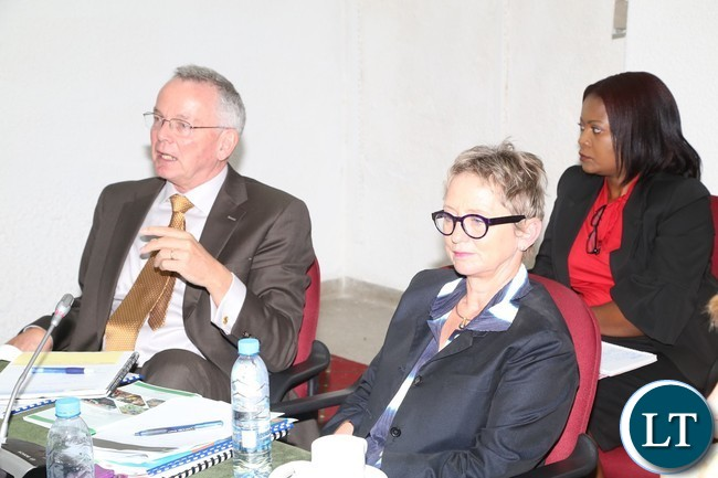 Dr. William Janssen Lead Agriculture Economist World Bank flanked by Ina Ruthenberg is the world Bank Country Manager- Zambia during World Bank Zambia appearing before Parliamentary Accounts Committee at Parliament