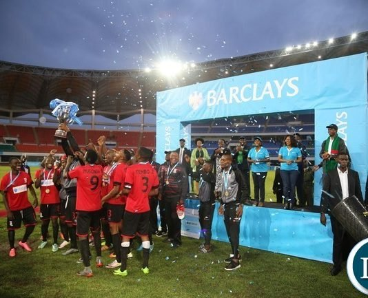 ZANACO football club celebrates as 2017 Barclays cup Champion after wining NAPSA by 2-1 at Heroes Stadium yesterday 28-10-2017. Picture by ROY D SIBAJENE/ZANIS