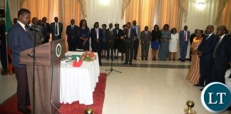 President Edgar Lungu speaking to the newly appointed Ambassadors and Permanents Secretaries during the swearing in ceremony at State House