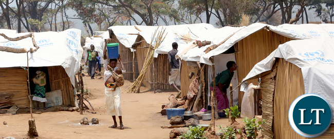 A Congolese refugees at Kenani camp transit centre in the Nchelenge district in Zambia