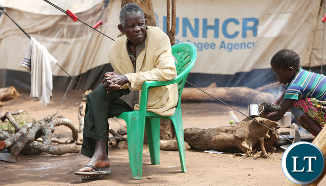 Congo DRC refugees family at Kenani camp transit centre in the Nchelenge