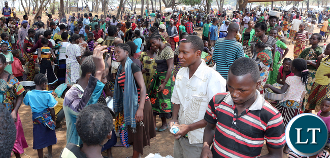 Congo DRC refugees waiting for food ration at Kenani camp transit centre in the Nchele