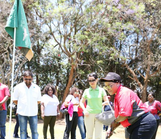 First Lady Esther Lungu teeing off during the Esther Lungu Foundation Trust Golf Tournament at State House on Saturday,October 14,2017-Picture by THOMAS NSAMA