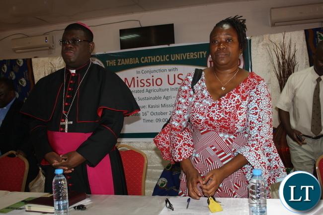 Bishop Kasonde and Ministry of Livestock and Fisheries Deputy Director Dr. Christine Yambayamba.