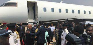 President Lungu welcoming President Zuma at KKIA this morning