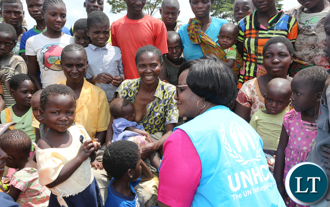 UNHCR Country Represrntative Ms Pierrne Ayira at Congo DRC refugees at Kenani camp transit centre in the Nchelenge