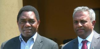 Hakainde Hichilema with visiting Amnesty International Secretary General Salil Shetty