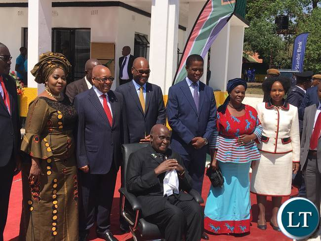 President Edgar Lungu, President Jacob Zuma and the First Ladies and Zambia's First President Dr. Kenneth Kaunda at the National Heritage site of Oliver Tambo House situated in Chelston Lusaka.