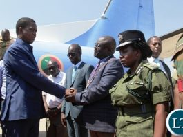 PRESIDENT Edgar Lungu by Ndola Mayor,Amon Chisenga at Simon Mwansa kapwepwe international Airport.