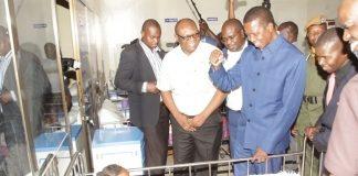 PRESIDENT Edgar Lungu greets a patient at a newly built Nkana Clinic in Lufwanyama.