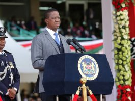 President Lungu addressing Kenyans during the Inauguration ceremony of Uhuru Kenyatta