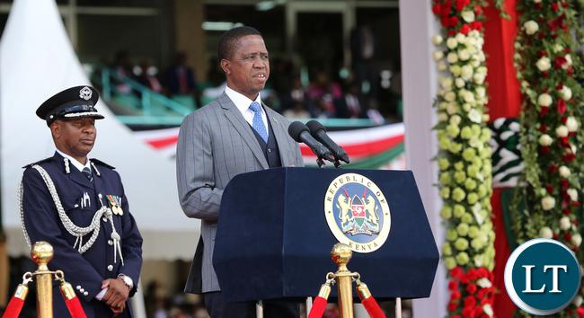 President Lungu addressing Kenyans during the Inauguration ceremony of Uhuru Kenyatta
