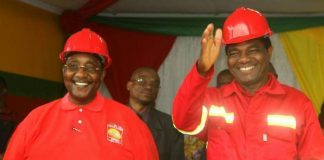 HH and GBM smiling to supporters at the UPND Card Renewal exercise