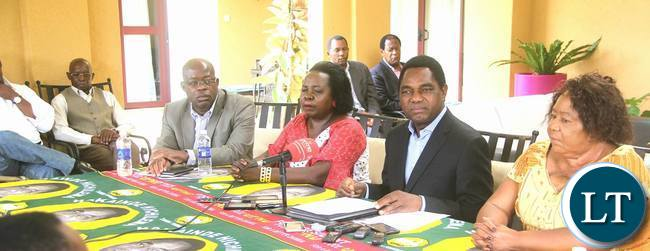 HH with the UPND leadership during the press briefing