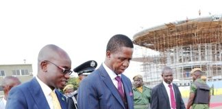 President Lungu with Amos Chanda at KK international airport left for Angola Zimbabwe talks USE
