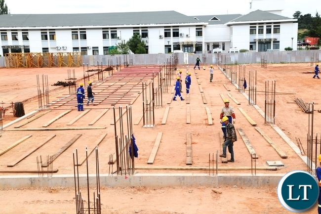 Sanjin Construction Engineering Group Company Limited workers busy working on the up grading of Levy Mwanawasa Hospital