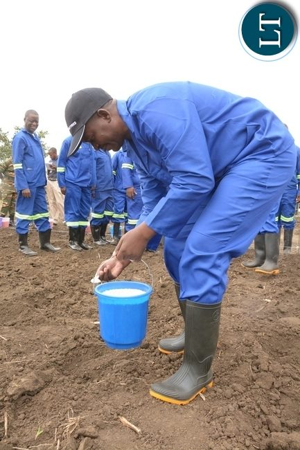 Zambia Army, Chief of Cooperatives Resettlement and Estates Brigadier General Charles Shapi planting maize shortly after officially launching the 2017-2018 planting at 2ZR Makeni Farm