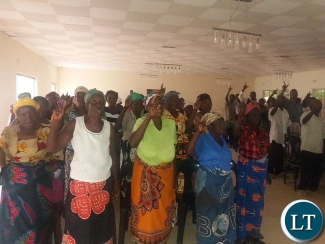 Party members at a meeting in Mkushi