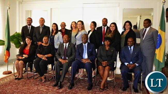 Minister Mutati with Zambian Embassy Staff in Brasilia