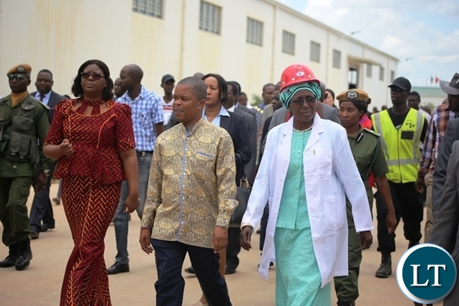 From right , Vice President Inonge Wina, Central province Minister Sydney Mushanga and Minister in the vice President's office Sylvia Chalikosa touring the multi-million fertiliser plant in Kabwe during the official opening of the facility. Picture by SUNDAY BWALYA/ ZANIS