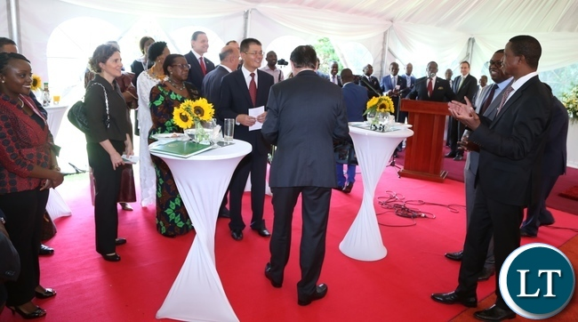 President Edgar Lungu interacts with High Commissioners and Ambassadors at State House during the New year greeting ceremony with Diplomats and Ambassador accredited to the republic of Zambia