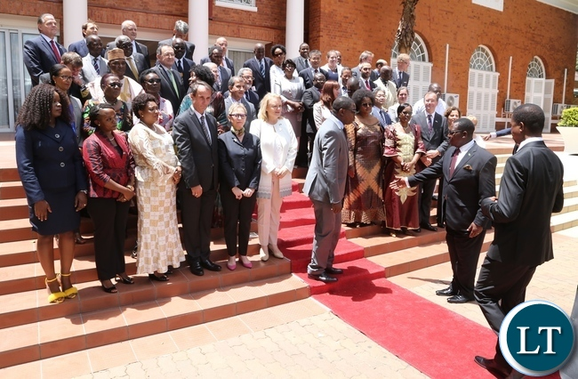 Zambia ecl commends cooperating partners for support towards president edgar lungu been ushered for the official picture with high commissioners and ambassadors with at malvernweather Gallery