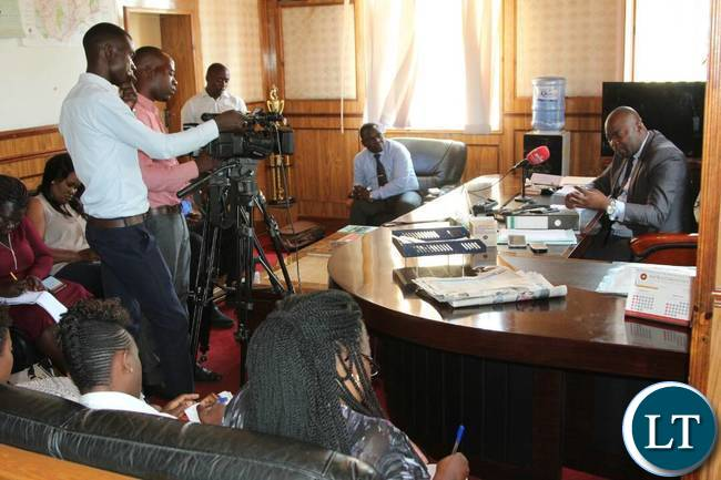 Members of the Press covering a press briefing called by Copperbelt Minister Bowman Lusambo at his office in Ndola