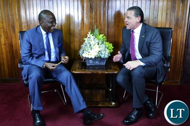 United States Ambassador To Zambia Daniel Foote with Finance Minister Felix Mutati