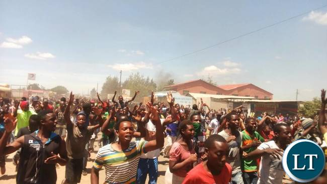 Youths in Kanyama Protesting Over Street Vending