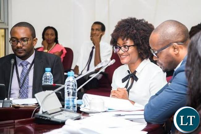 ZIPAR Executive Director Dr Pamela Kabaso (middle) making a submissionsto the Parliamentary Committees on management and operations of the IDC.
