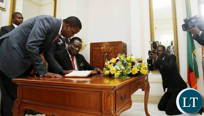Visiting Zimbabwean President Emmerson Mnangagwa with President Edgar Lungu at State House