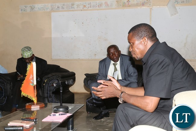 President Edgar Lungu talks to Chief Chundaponde and Chief Mpumba of Lavushimana District in Mpika