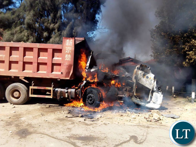Burnt truck in Kanyama riots